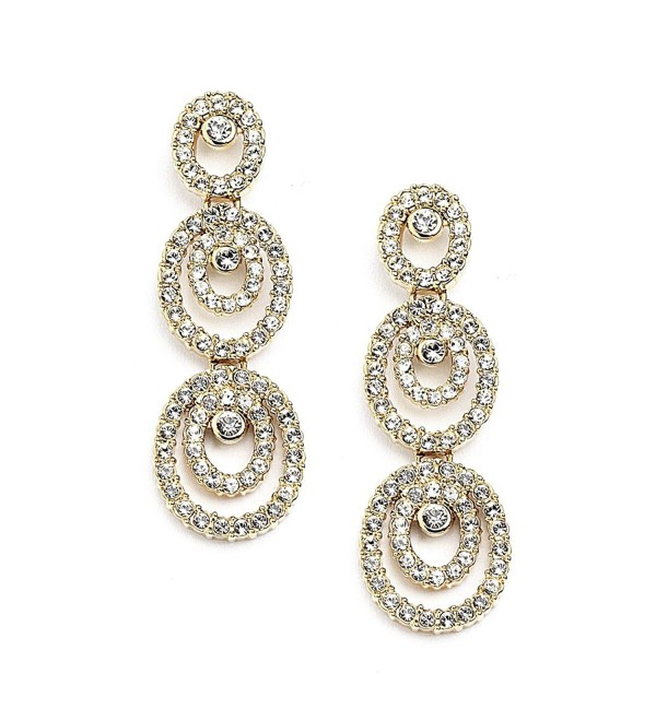 Mariell Concentric Ovals Genuine 14KT Gold Plated Pave CZ Bridal Fashion Dangle Earrings - CG11ZP6U0AZ