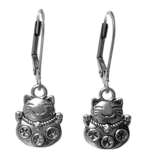Sabai NYC Silver Tone Fortune Cat Maneki Neko Charm Dangle Earrings - CP1888RQ3L4