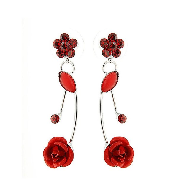 Glamorousky Elegant Red Rose Earrings with Red Austrian Element Crystals and Crystal Glass (501) - C6118SOFFRF