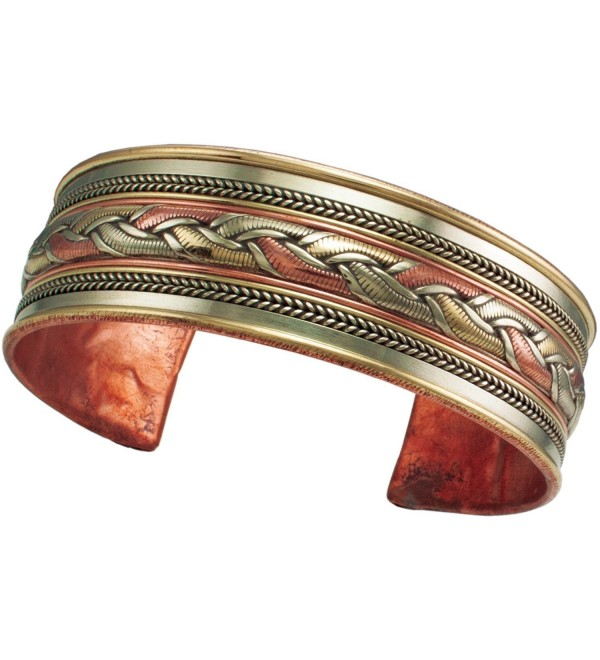 Tibetan Energy Metal Cuff Bracelet Healing Ribbon Pattern - CT183NE455L