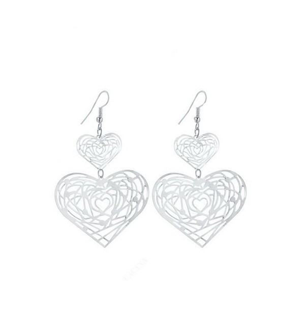 IDB Delicate Filigree Dangle Double Heart Drop Hook Earrings - available in silver and gold tones - Silver tone - CV189TMU2S5