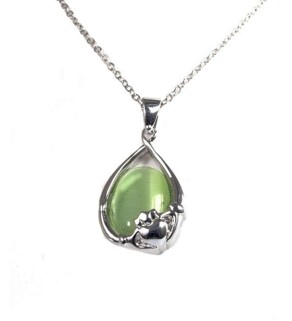 Irish Celtic Rhodium Green Cats Eye Claddagh Pendant by Solvar - C211MYBFR2B