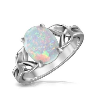 Bling Jewelry Triquetra Celtic Knot Oval Synthetic White Opal Sterling Silver Ring - CP11IR2T9VL
