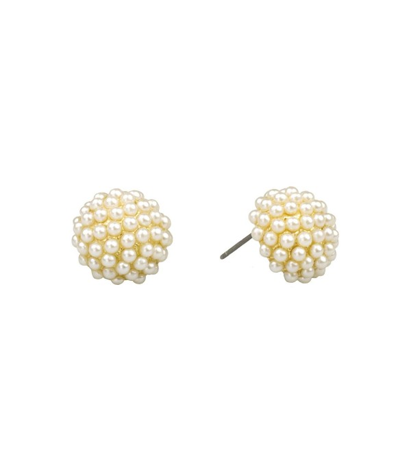 "John Wind- 1/2"" Pave Pearl Post Earrings- Gold - C612NB42CX9"