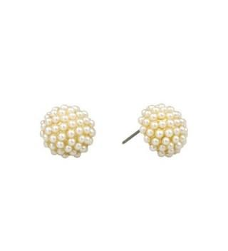 "John Wind- 1/2"" Pave Pearl Post Earrings- Gold - C612NB42CX9"