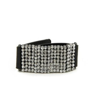 Premium Rhinestones PU Leather Bracelet - Different Colors Available - Black - C011RETOKQH