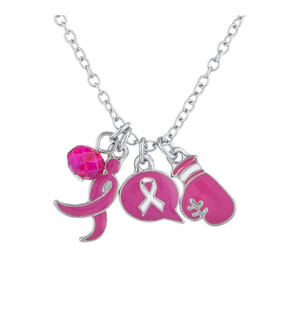 Lux Accessories Silvertone Pink Breast Cancer Awareness Ribbon Charm Pendant Necklace - CA17YSLXNK9