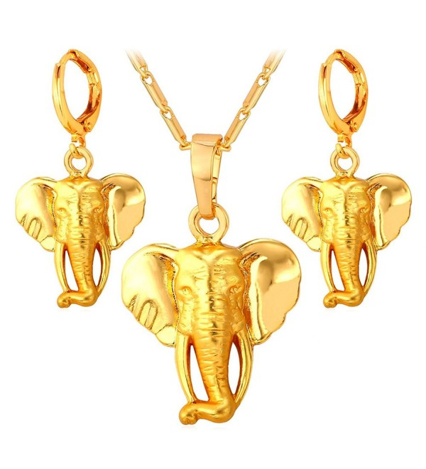 Elephant Pendant Necklace Earrings Set For Women 18K Gold Plated African Style Jewelry - C512EAW98EX