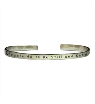 "Psalm 46:10 Be Still and Know - Cuff Bracelet Jewelry Hand Stamped 1/4"" Smooth Texture Aluminum - CB12EX8J2ZP"