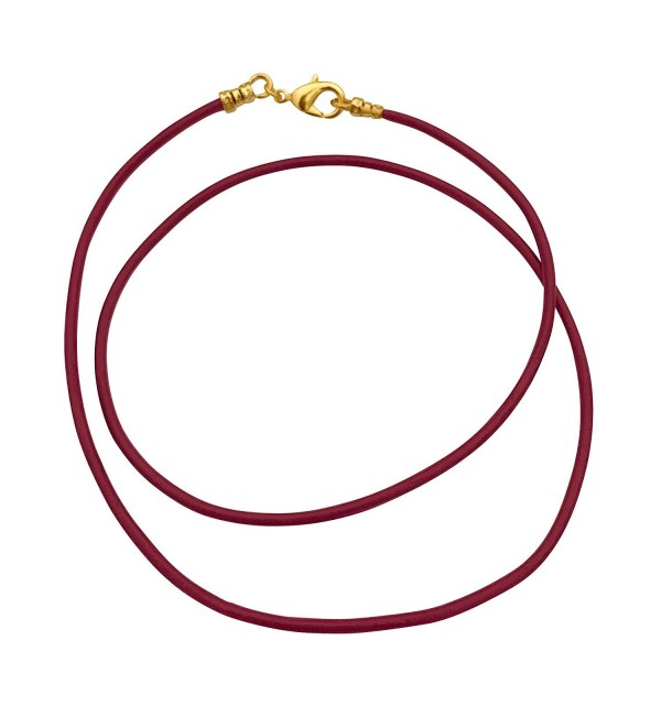 Gold Plated 1.8mm Fine Burgundy Red Leather Cord Necklace - C11875IXMMM