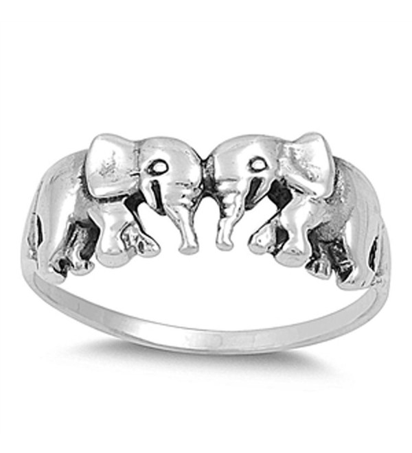 CHOOSE YOUR COLOR Sterling Silver Elephant Ring - CZ11Y23EBFN