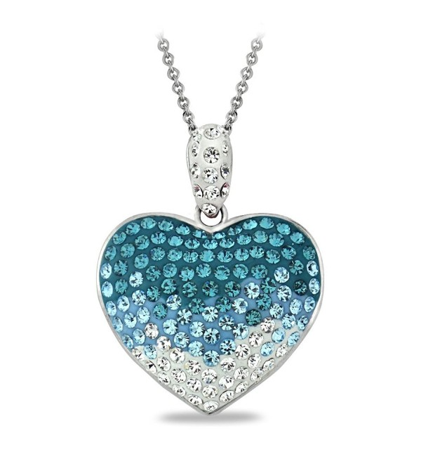 "Bria Lou Silver Flashed Heart Cluster Pendant Necklace Made with Swarovski Crystals- 18"" - Blue - CZ124IBG6V5"