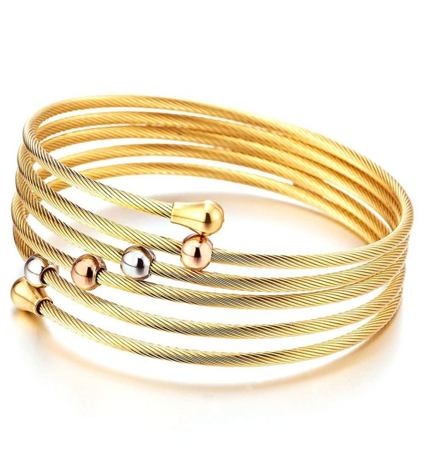 Elastic Adjustable Ladies Steel Twisted Cable Cuff Bangle Bracelet Elastic Multi-lap Silver Gold Two-tone - 2 - CU17YEC6OSX