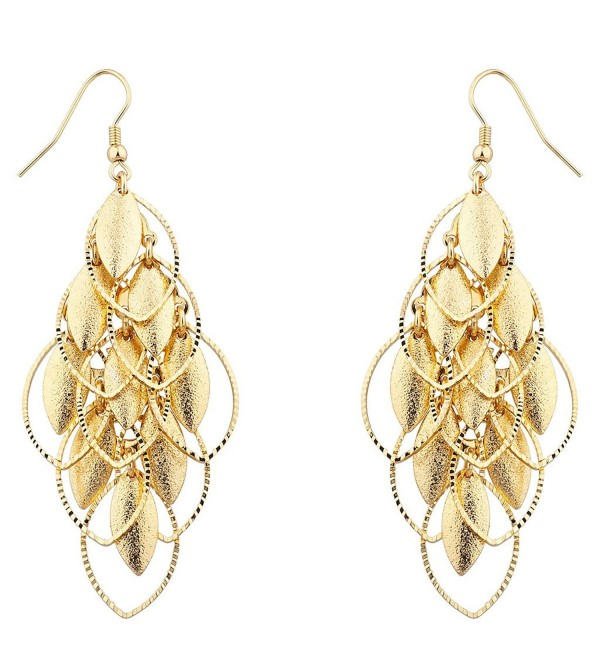 Lux Accessories Gold tone Petals Waterfall Earrings - CJ12F77TOMH