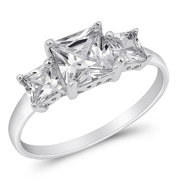 Princess Cut Cubic Zirconia Three Stones Ring Sterling Silver (Color Options- Sizes 2-15) - Clear CZ - C511F7JFQF5