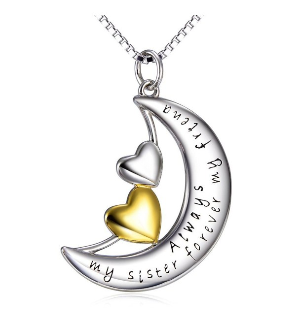 "Sterling Silver ""Always My Sister Forever My Friend"" Moon Double Love Heart Pendant Necklace- 18"" - CZ12GMI2HQZ"