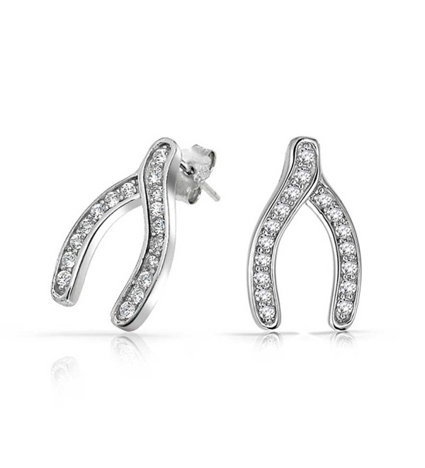 Bling Jewelry .925 Sterling Silver Pave Clear CZ Wishbone Earrings - C1113XPX4KJ