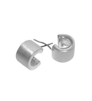 "Takobia Women's Petite Brushed Silver Plated ""C"" Design Open Hoop - .925 Sterling Silver Post Earrings - CD12HPAFIEL"