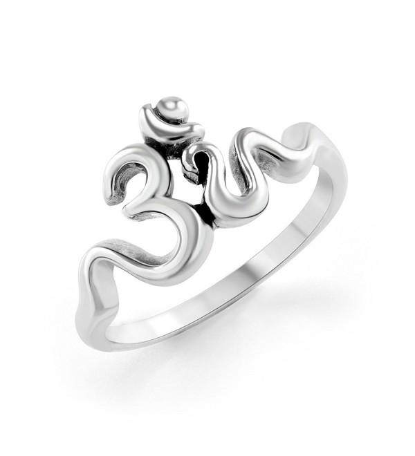 925 Sterling Silver Calligraphy Style Yoga Om Aum Ohm Ring - CA11G5NNWU3