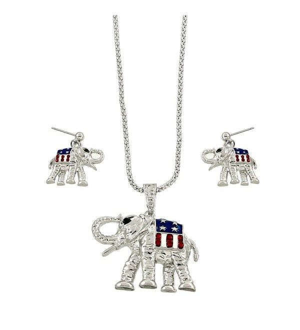 Republican Elephant or Democratic Donkey Necklace Earring Set - C2122G9XXFX