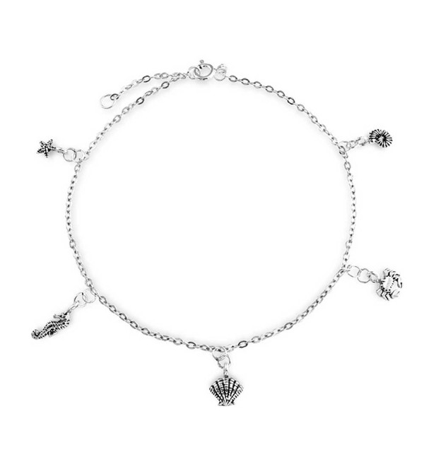 Bling Jewelry Nautical Sea Life Charm Sterling Silver Anklet 9.5 Inch - CR114E267U9