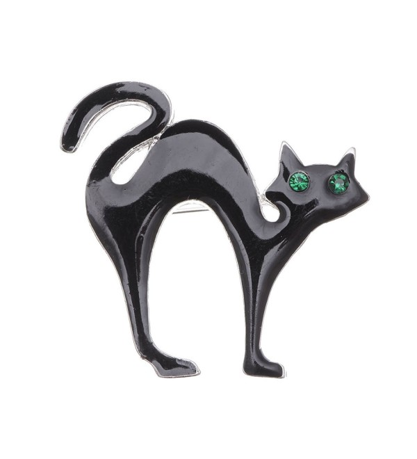 Alilang Emerald Green Colored Rhinestones Halloween Black Panther Kitty Cat Kitten Brooch Pin - CB113T2CA05