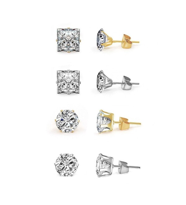 Sundear Stud Earrings Round Cut Cubic Zirconia Earrings Set for Women - Four pairs - CE18C50ZLR4