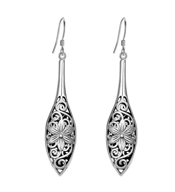 EVER FAITH Women's 925 Sterling Silver Bali Inspired Flower Filigree Puffed Teardrop Dangle Hook Earrings - CL17YDORGR2