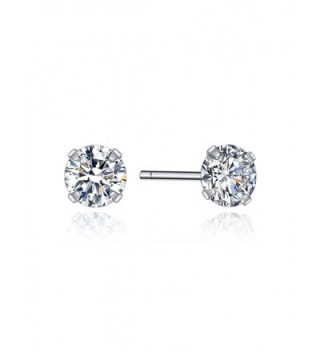 Hypoallergenic Basic Earrings Sterling Silver Cubic Zircon Studs for Women and Men Sleep Earrings - 4MM - C0186WS9IQ0