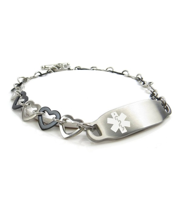 MyIDDr - Pre-Engraved & Customizable Alzheimer's Medical Bracelet- Black / Steel Hearts - CL11HUDO4A3