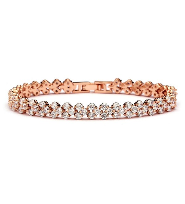 "Mariell 14K Rose Gold Plated 6 3/8"" CZ Tennis Bracelet for Wedding Bridal or Prom - For Petite Wrist Size - C012MNL8C2N"