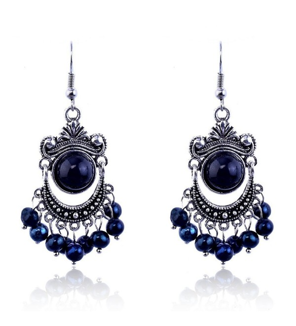 Lureme Vintage Black and Blue Bead Silver Tone Chandelier French Hook Drop Earrings for Women 02002121-1 - CO11E3JDTXB