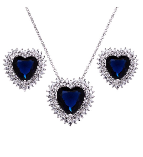 Forever Hearts for Her Luxury Pendant Necklace Jewelry Sets AAA CZ Rhodium Plated Chain - Blue - C1189Q53225