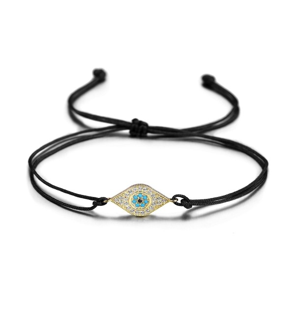 Wistic Hamsa Evil Eye Adjustable Bracelet Kabbalah Silver String Bracelet for Women Men Girls boys - black piece - C6189YTH0TX