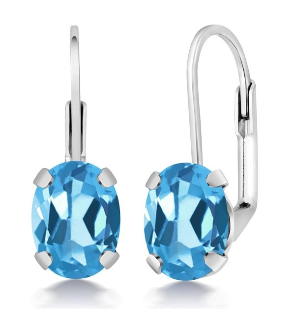 3.00 Ct Oval Swiss Blue Topaz Silver Plated Brass Lever Back Earrings - CO11788KA6H