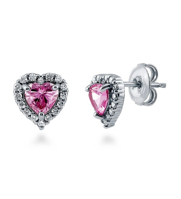 BERRICLE Rhodium Plated Sterling Silver Heart Shaped Pink Cubic Zirconia CZ Halo Heart Stud Earrings - CC12BQYBQPD