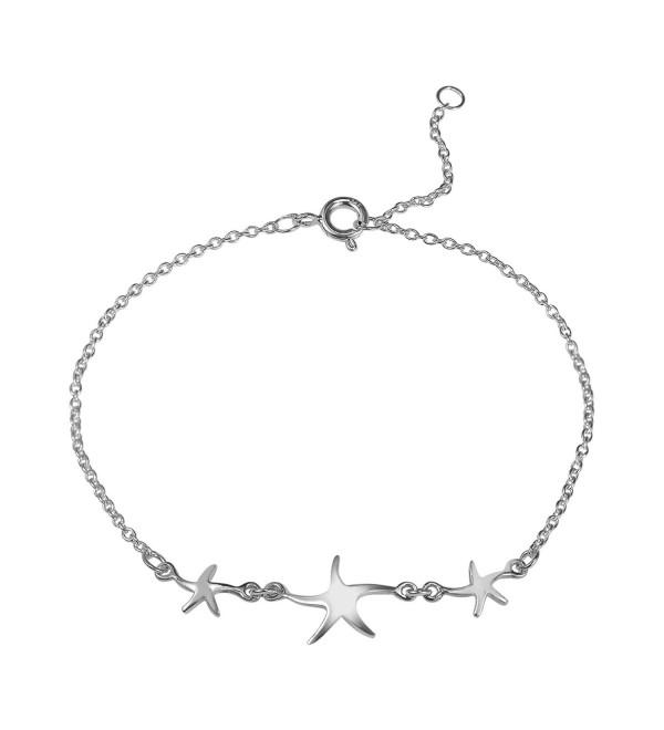Three Lucky Charm Starfish .925 Sterling Silver Link Bracelet - C211PCYDOEZ