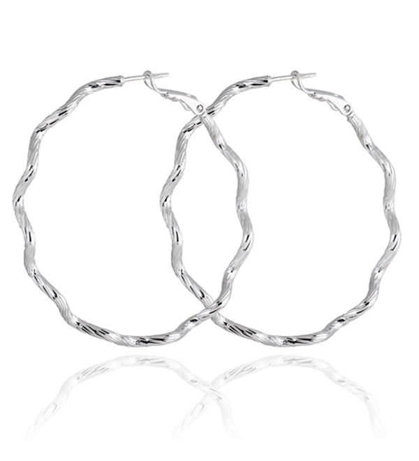 Yazilind Elegant Vogue Silver Plated Twisted Design Extra Large Omega Back Hoop Earrings 50mm - golden - CB11MPNMV45