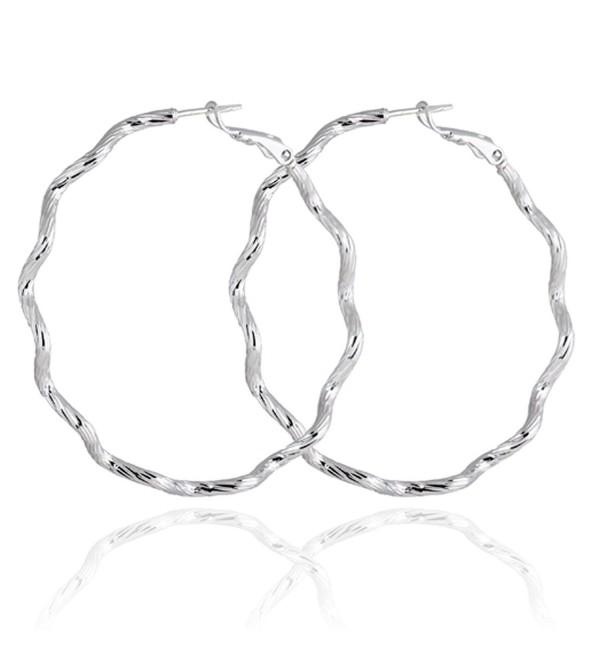 Yazilind Elegant Vogue Silver Plated Twisted Design Extra Large Omega Back Hoop Earrings 50mm - golden - CB11MPNMV45