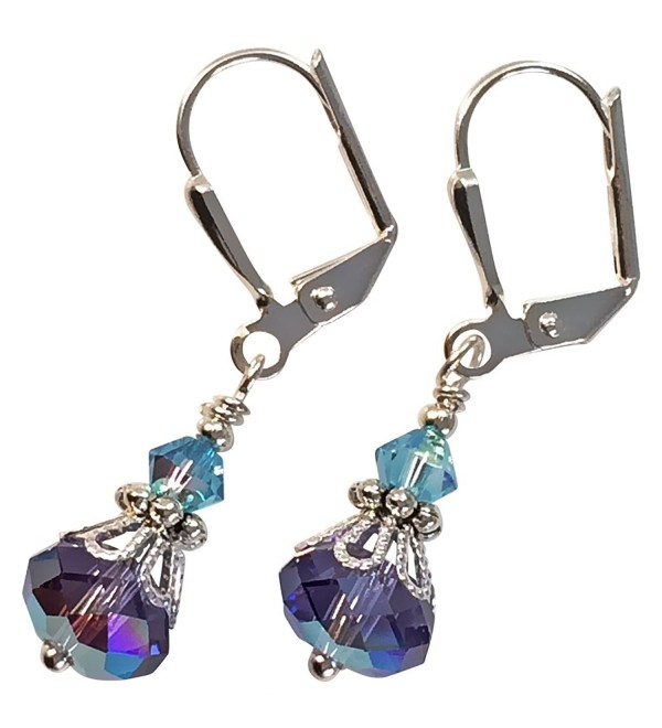 Ultra Violet Purple and Aqua Blue Crystal Vintage Boho Inspired Earrings - CR12B0EQUWN