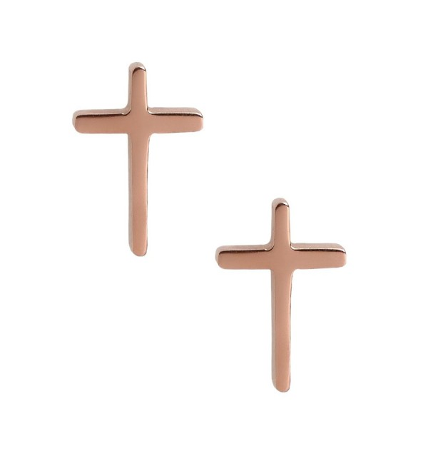 Women Cross Earrings. Tiny Rose Gold Tone Stainless Steel Gift Box Christian Symbol Studs Jewelry - CW12MMI6W9H
