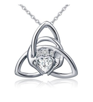 S925 Sterling Silver Irish Claddagh Love by Kelly Hands Holding Crown Heart Pendant Necklace for Women - CW1884QHQUQ