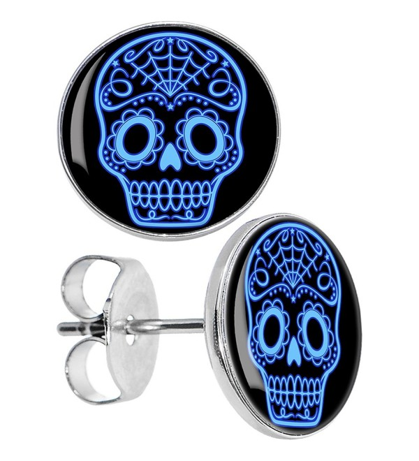 Body Candy Stainless Steel Black Blue Sugar Skull Art Stud Earrings - CL119NZYLMX