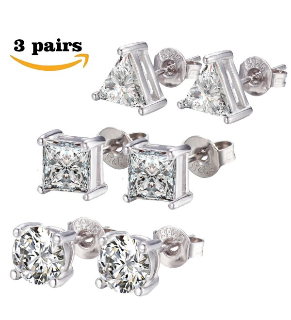 SPINEX 3 Pairs CZ Stud Earrings Round Square Triangle Pierced Earring Set 6mm - CE186RKAX7M