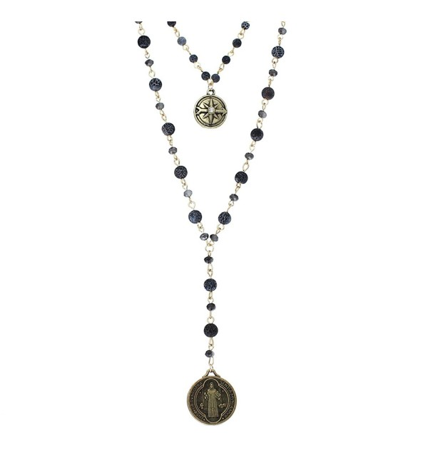 Rosemarie Collections Women's Beaded 2-Strand St Benedict Cross Pendant Necklace - Gold Tone/Black - CR18092D9QY