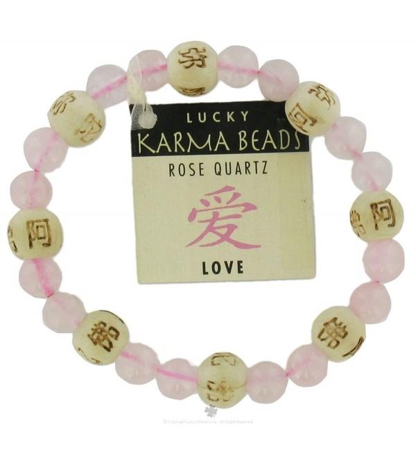 Zorbitz Lucky Karma Bracelet- Rose Quartz for Love and Friendship- Women's Genuine Gemstone Stretch Bracelet - CS111KXDJXX