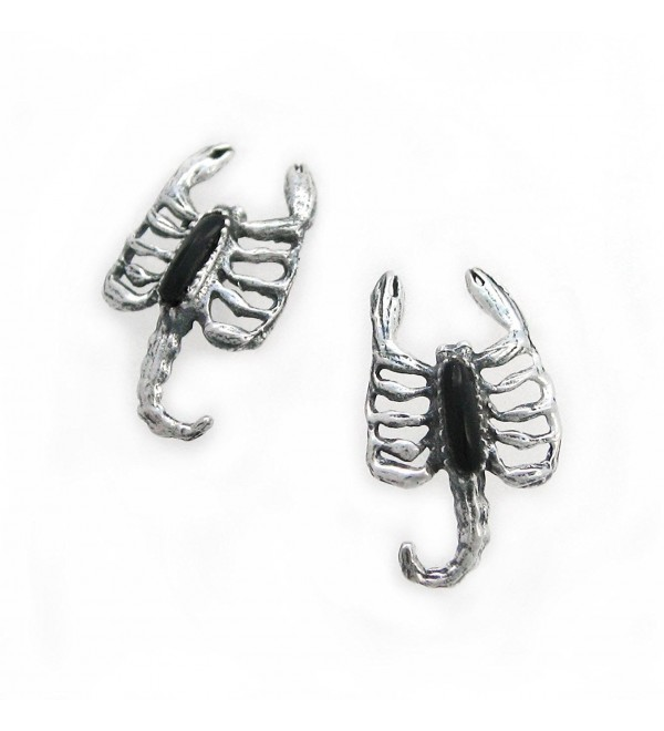 Sterling Silver Scorpion Stone Inlay Stud Post Earrings- Onyx - CS11KPNGI87