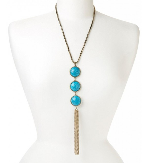 Lux Accessories Synthetic Turquoise Tiered Tassel Fringe Necklace - CX11QLVFD4R