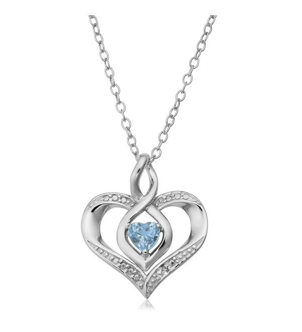 Sterling Silver With Diamond Accent And Gemstone Birthstone Heart Pendant Necklace (18 inch) - C812MGRC0AD