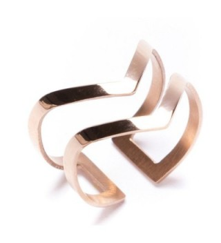 Double Chevron Band Ring in Rose Gold | Open Cuff Ring Titanium Jewelry - C812GHVFXJP